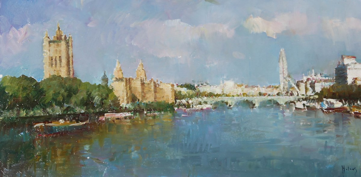 The Thames, London II by helios - Original on Board sized 16x8 inches. Available from Whitewall Galleries